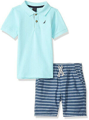 Nautica Toddler Boys Aqua Blue Polo 2pc Short Set Size 2T 3T 4T $59.50