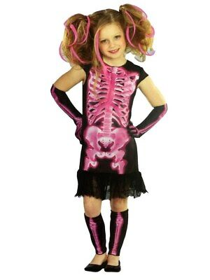 Totally Ghoul Girls Pink Shocking Xray Halloween Costume Dress Up Outfit](Shocking Halloween Costumes)