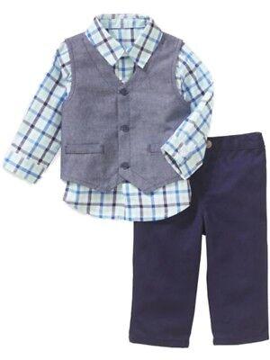 Infant Boys Blue Plaid 3 Piece Dress Up Outfit Shirt Vest & Pants Set