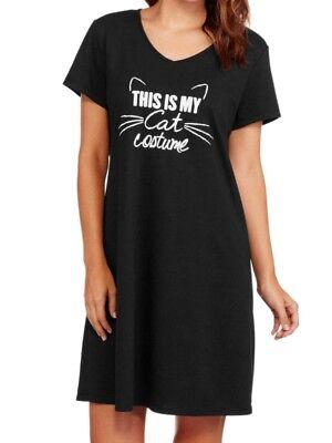 Cat Nightgown (Secret Treasures Womens Black My Cat Costume Sleep Shirt Nightgown Nightie S-M )