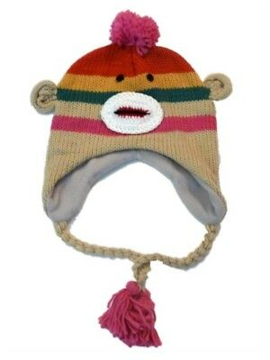 Manhattan Hat Company Womens Pink Striped Sock Monkey Peruvian Hat Pom Trapper (Sock Monkey Company)