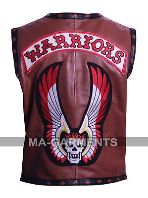 The Warriors Movie Leather Vest Biker Synthetic Leather Jacket Halloween Costume