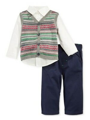 First Impressions Infant Boy 3 PC Dress Up Outfit Pants Sweater Vest Shirt