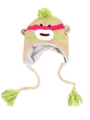 Manhattan Hat Company Womens Green Striped Sock Monkey Peruvian Hat Pom Trapper (Sock Monkey Company)