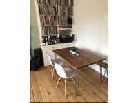 Dining/kitchen tables, desks, benches, coffee tables, shelves with industrial hairpin legs