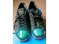 Adidas Florescent metal toe superstars 8