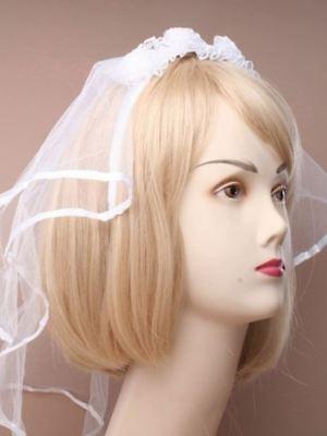 Weiß Braut Kopfschmuck mit Netz Schleier und Blumen Junggesellinnenabschied ()