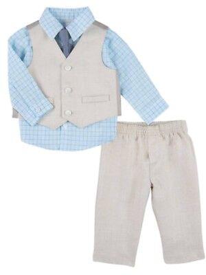 Infant Boys Suit Blue & Tan Baby Dress Up Outfit Shirt Vest Tie & - Infant Dress Suit