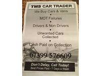 Tms cars wanted vans 4x4 motorhomes call today top prices paid