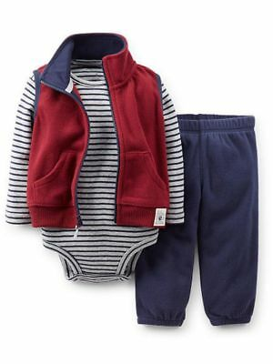 Carters Infant Boys 3 Piece Football Outfit Sweat Pants Creeper & Jacket Vest