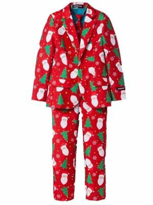 Mens Red Santa Claus Ugly Holiday Christmas Suit Sportscoat Slacks & - Father Christmas Red Suit