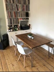 Bespoke dining and kitchen tables, desks , breakfast bars with industrial hairpin legs