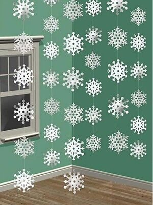 Christmas Party Shimmering Hanging Snow Flake String Decorations Frozen - Snowflake Hanging Decorations
