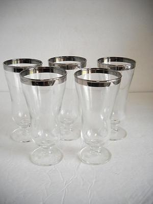 """Five Silver Rimmed Parfait Glasses Standing 5-7/8"""" Tall - EC"""