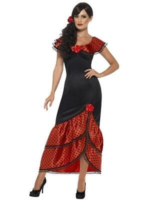 Flamenco Dancer Costume Halloween (Smiffys Flamenco Dancer Senorita Dress Adult Womens Halloween Costume)