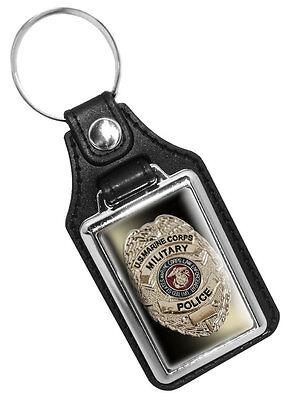 USMC MARINE CORPS MILITARY POLICE BADGE FAUX LEATHER KEY RING KEYCHAIN USA MADE