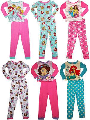 Disney Princess 100% Cotton Girls Long Sleeve Sleep Lounge Pajamas (Cotton Girls Pajamas)
