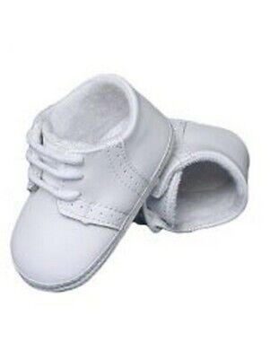 Boys Saddle Shoes (Baby Boys White Leather Saddle Oxford Perforated Crib Shoes 4)