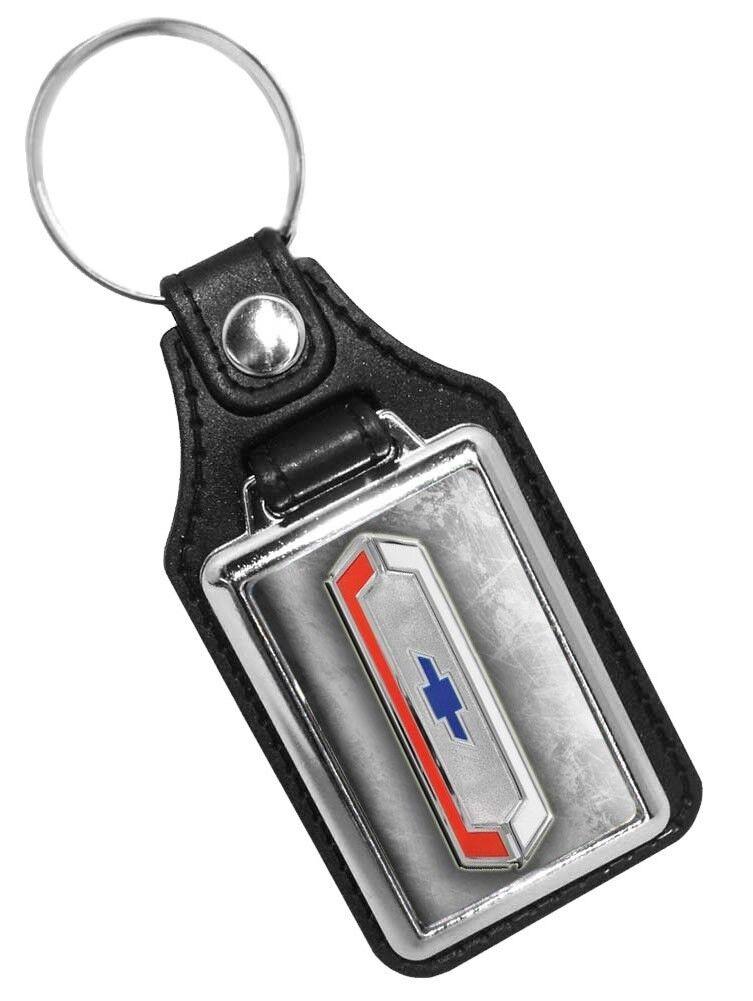 Vintage Chevrolet Bowtie Emblem Faux Leather Key Ring