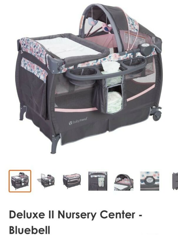 New Baby Trend Deluxe II Nursery Center Playard Play Crib with Bassinet Bluebell