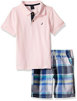 Nautica Boys Pink Polo 2pc Short Set Size 2T 3T 4T 4 5 6 7