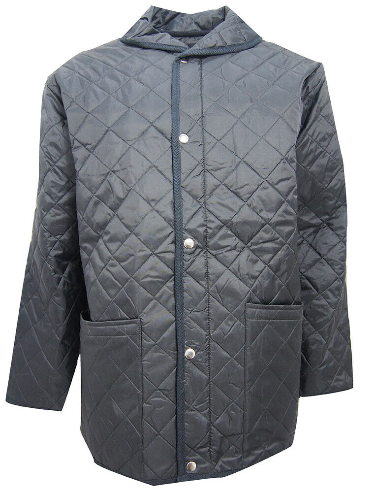 Mens Black Quilted Full Zip 2 Pockets Jacket Large  Clearanc