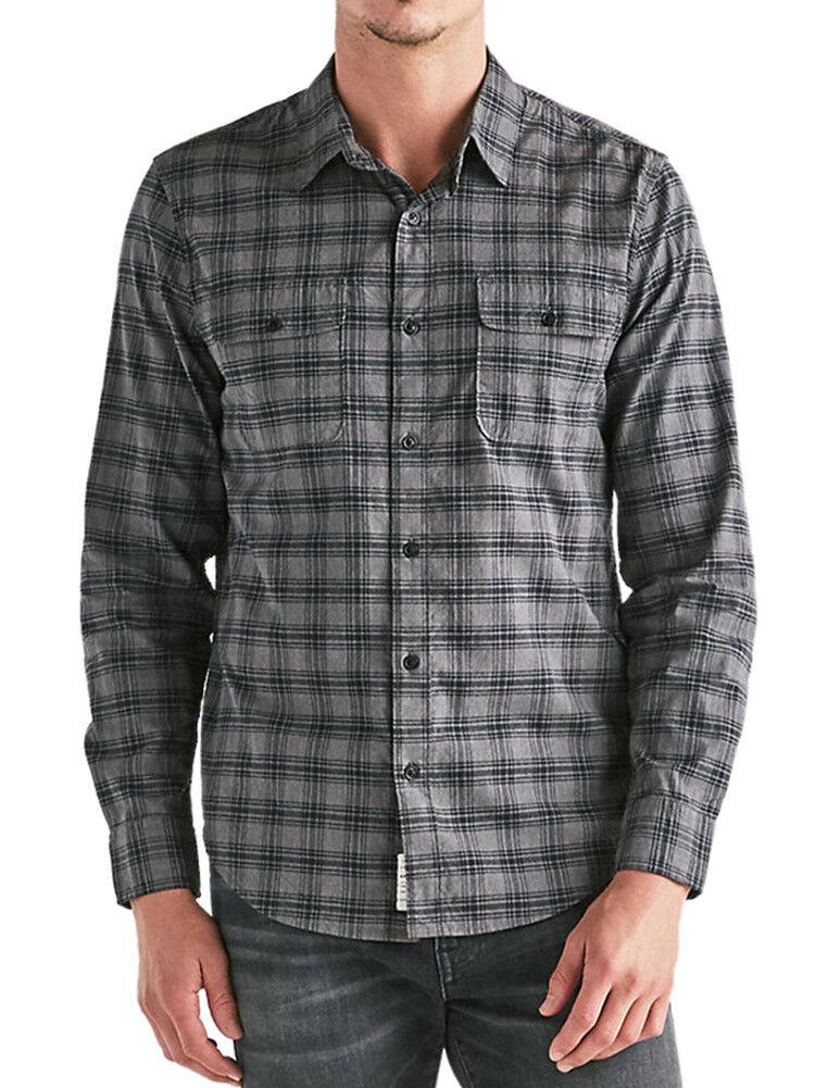 947fb72e53 Details about Lucky Brand Mens Dark Grey Plaid Saturday Stretch Workwear Shirt  Medium M 3057-5