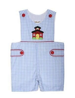 Boys Shortall Schoolhouse Applique Boys Blue Check Babeeni Infant 9m-3T NEW