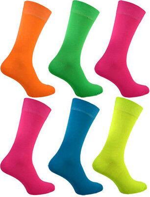 Herren 6 Paar Neon Socken Teddy Junge Qualität Leuchtend Designs Kostüm - Paar Socken Kostüm