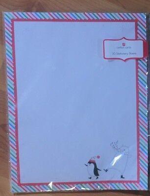 30 Sheets Christmas Stationary Printer Penguin Bear Paper Holiday Carlton Cards - Christmas Penguin