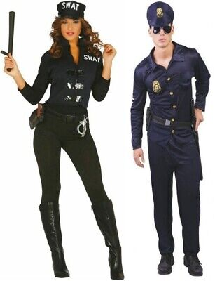 Adult Police Officer Cop Ladies Mens Couples Fancy Dress Costume Womens - Cops Couple Costumes