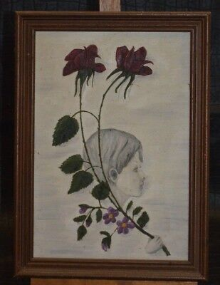 ANTIQUE PAINTING FRAME CANVAS THE CHILD DISAPPEARED OIL PAINTING DRAWING