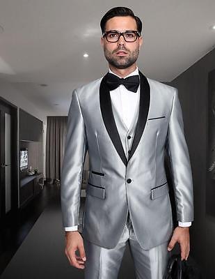 New Statement 3 PC Modern Fit Shiny Silver Tuxedo Suit Vest Pants Style Rome - Mod Suit Style