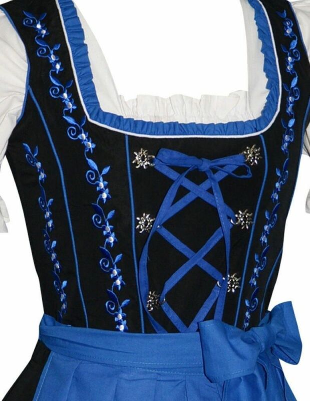 Blue German Dirndl Dress Waitress Party Oktoberfest SEE BACK SIDE ~ EMBROIDERY