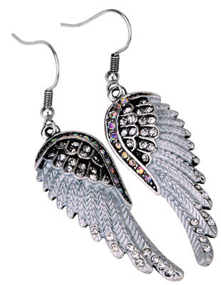 Angel wing dangle drop earrings bling biker jewelry gifts for women EC23 silver