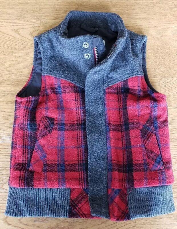 Genuine Kids By Oshkosh Toddler Boys Red Plaid Vest Size 18M
