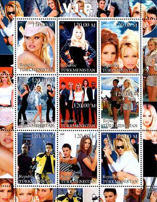 Turkmenistan 2000 V.I.P. TV Series Pamela Anderson 9v MNH F/S. (L-13)