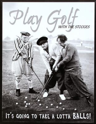 Three Stooges Golf Metal Tin Sign Funny Golfing Golfer Picture Wall Decor Gift (Funny Golf Sign)