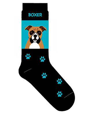 Boxer Dog Socks Cotton Crew Stretch Egyptian Made Blue