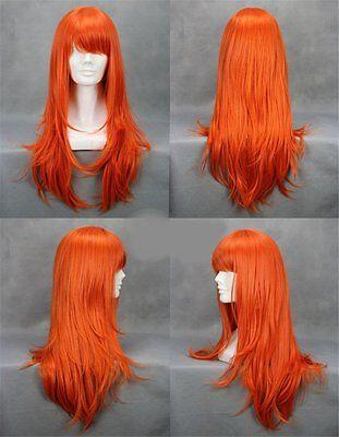 One Piece Anime Nami Perücke wig Haare Cosplay Kostüm Karneval Lang Orange Damen ()