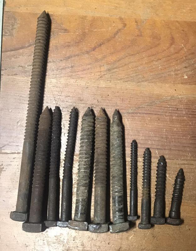 antique lag bolt square head Vintage Screw Lot