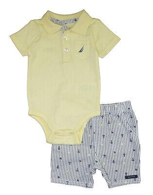 Nautica Infant Boys Yellow Polo Bodysuit 2pc Short Set Size 3/6M 6/9M $50