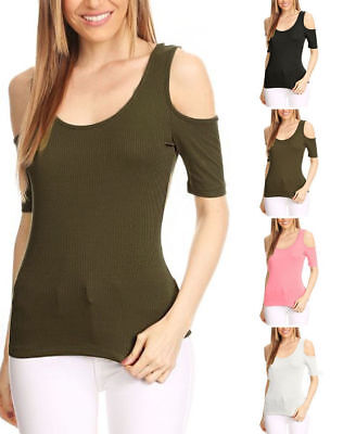 Cold Shoulder Round-Neck Ribbed Knit Cut Out Sleeve Fitted Tee S ~ 3XL