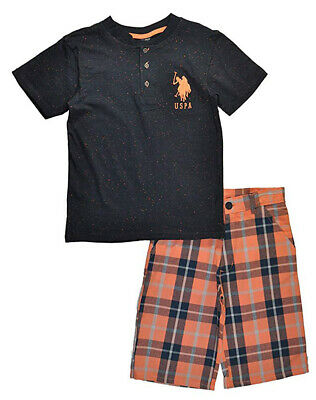 US Polo Assn Toddler/Little Boys Speckled Top & Short Set Size 2T 3T 4T 4 5 6 7