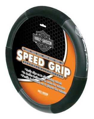 Harley-Davidson Grey Bar & Shield Speed Grip Style Steering Wheel Cover P6450 Harley Davidson Steering Wheel Cover