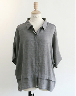 [Bonispax]  Women Loose Casual Rayon Blouse Gray , K-Fashion,Designed in Korea