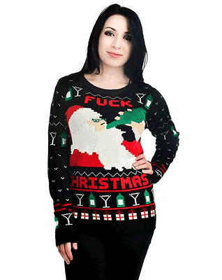 TOO FAST TATTOO DRUNK SANTA CLAUS CHRISTMAS EMO SWEATER ROCKABILLY SWEATER Clothing, Shoes & Accessories