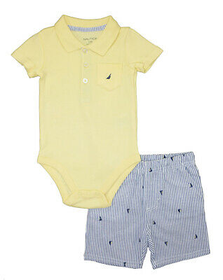 Nautica Infant Boys Yellow Bodysuit 2pc Short Set Size 3/6M 6/9M 12M 18M 24M $50