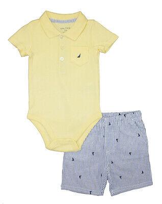 Nautica Infant Boys Yellow Bodysuit 2pc Short Set Size 3/6M 6/9M 12M 18M 24M $50