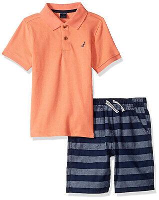 Nautica Boys Salmon Polo 2pc Short Set Size 2T 3T 4T 4 5 6 7